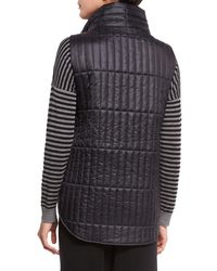 Eileen Fisher - Black Quilted Stand-collar Vest - Lyst