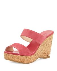 Jimmy Choo | Pink Parker Suede 100mm Wedge Slide Sandal | Lyst