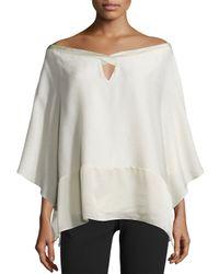 Halston - White Off-shoulder Poncho Top - Lyst