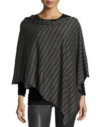 Eileen Fisher   Gray Striped Wool-blend Poncho   Lyst