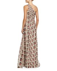 Carolina Herrera   Multicolor One-shoulder Draped Gown   Lyst