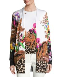 Etro - Black Floral & Animal-print Stampa Open Cardigan - Lyst