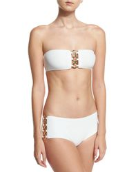 Michael Kors - White Ring-chain Bandeau Two-piece Swimsuit - Lyst