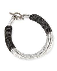 Brunello Cucinelli   Metallic Leather Bracelet W/monili Strands   Lyst