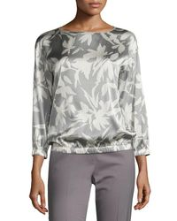 Lafayette 148 New York | Gray Evie 3/4-sleeve Floral-print Silk Blouse | Lyst