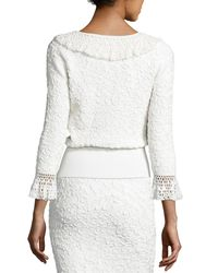 Michael Kors | White Crochet-trim Soutache-embroidered Top | Lyst