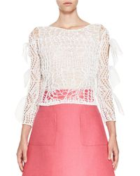 Delpozo | White Bow-sleeve Open-knit Top | Lyst