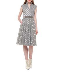 Akris | Multicolor Square-print Cap-sleeve A-line Dress | Lyst