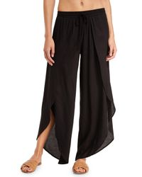 Tori Praver Swimwear | Black Justina Split-front Wide-leg Coverup Pants | Lyst