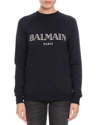 Balmain | Black Logo-graphic Crewneck Sweatshirt | Lyst