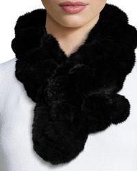 Belle Fare - Black Rex Rabbit Fur Pompom Neck Warmer - Lyst