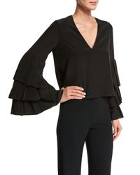 Alexis - Black Valencia Tiered-sleeve V-neck Top - Lyst