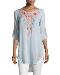 Johnny Was - Blue Aubrieta Embroidered Georgette Blouse - Lyst