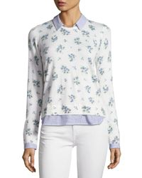 Joie | White Rika J Layered Floral-print Sweater | Lyst