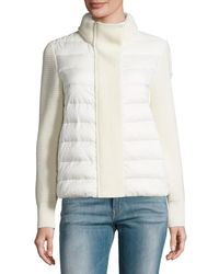 Moncler - White Maglione Quilted/tricot Cardigan Jacket - Lyst