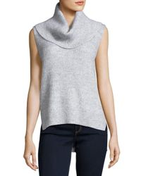 MICHAEL Michael Kors | Gray Sleeveless Cowl-neck High-low Sweater | Lyst