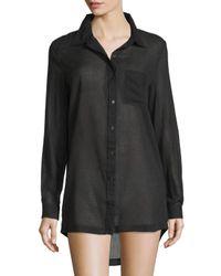 Skin Black Richie Cotton Woven Sleepshirt
