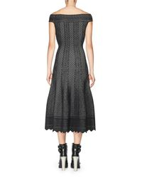 Alexander McQueen | Black Jacquard Off-the-shoulder Midi Dress | Lyst