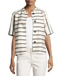 Lafayette 148 New York | Multicolor Ethan Half-sleeve Snap-front Striped Jacket | Lyst