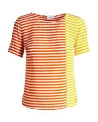 Akris Punto - Multicolor Striped Short-sleeve Silk Blouse - Lyst