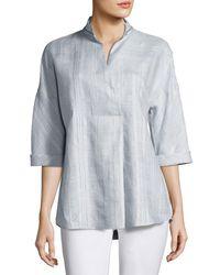 Lafayette 148 New York | Gray Dakota 3/4-sleeve Seneca Plaid Linen Top | Lyst