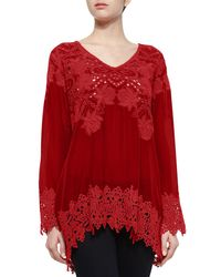 Johnny Was | Red Lacy V-neck Georgette Tunic | Lyst