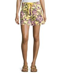 RED Valentino   Multicolor Passionflower-print Stretch-poplin Shorts   Lyst
