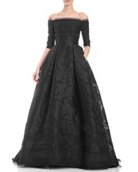 Carolina Herrera | Black Off-the-shoulder Floral Fil Coupe Ball Gown | Lyst