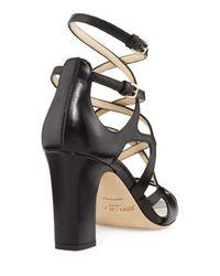 Jimmy Choo Black Dillan Caged Leather 85mm Sandal
