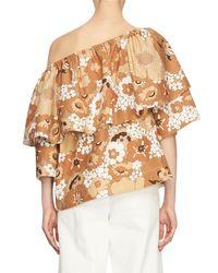 Chloé | Brown Floral Slouchy Half-sleeve Blouse | Lyst