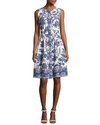Oscar de la Renta - Blue Sleeveless Toile-print Cotton Dress - Lyst
