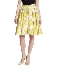 Zac Posen | Yellow Floral Jacquard Pleated Skirt | Lyst
