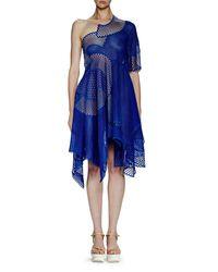 Stella McCartney Blue Noah One-shoulder Mesh-embroidered Dress