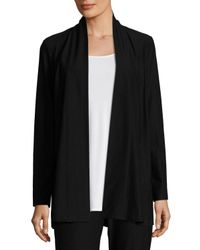 Eileen Fisher | Black Lightweight Washable Stretch-crepe Topper Cardigan | Lyst