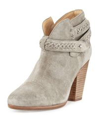 Rag & Bone | Gray Harrow Belted Suede Ankle Boot | Lyst