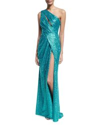 Elie Saab | Blue Sequined Drape-front One-shoulder Gown | Lyst