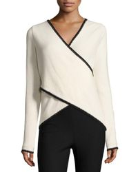 10 Crosby Derek Lam   Multicolor Blanket-stitched Cross-front Sweater   Lyst
