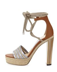 Jimmy Choo | Multicolor Mayje 130mm Rope-tie Platform Sandal | Lyst