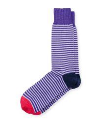 Paul Smith | Purple Two-stripe Contrast-block Socks for Men | Lyst
