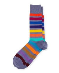 Paul Smith | Blue Bright Rainbow Stripe Colorblock Socks for Men | Lyst