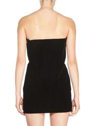 Saint Laurent - Black Strapless Sweetheart Velvet Mini Dress - Lyst