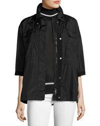 Moncler | Black Tatin 3/4-sleeve Boxy Lightweight Jacket | Lyst