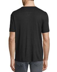 John Varvatos   Red Short-sleeve Linen-blend Henley T-shirt for Men   Lyst