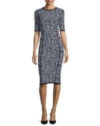 Michael Kors - Black Leopard-print Half-sleeve Midi Dress - Lyst