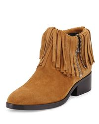 3.1 Phillip Lim - Brown Alexa Fringed Suede Ankle Bootie - Lyst