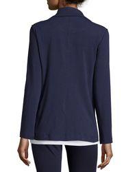 Eileen Fisher - Blue High-collar Stretch Jersey Jacket - Lyst