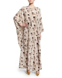 Libertine | Natural Long-sleeve Doggie-print Maxi Caftan | Lyst