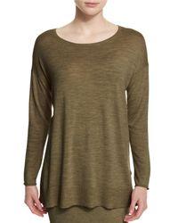 Eileen Fisher - Green Long-sleeve Luxe Merino Tunic - Lyst