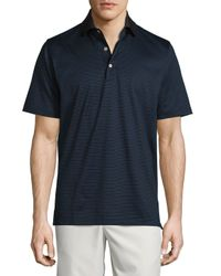 Peter Millar | Black Striped Lisle Knit Polo Shirt for Men | Lyst
