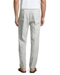 James Perse - Metallic Drawstring Utility Linen Pants for Men - Lyst